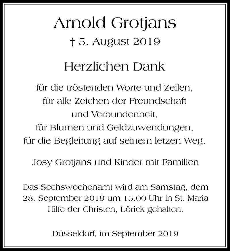 Anzeige von  Arnold Grotjans