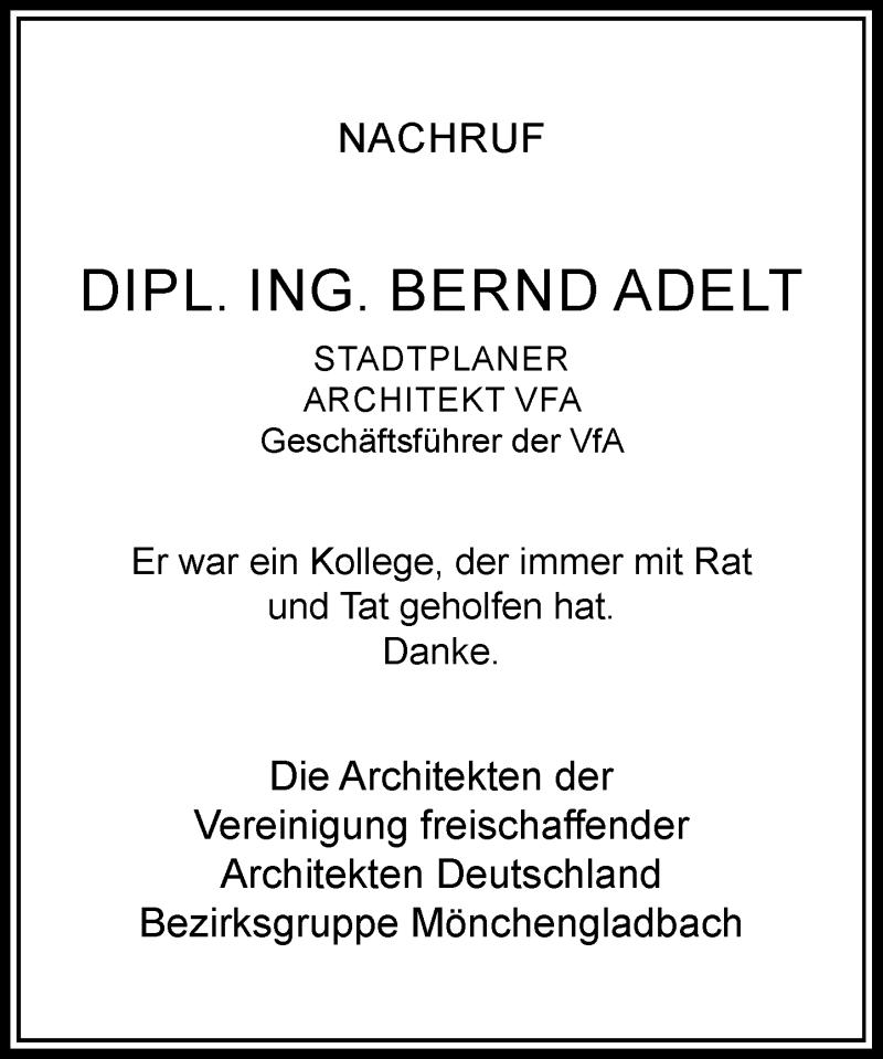 Anzeige von  Bernd Adelt