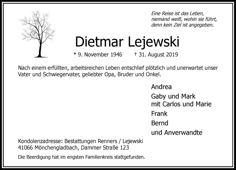 Traueranzeige für Dietmar Lejewski vom 14.09.2019 aus Rheinische Post