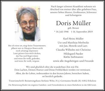 Traueranzeige von Doris Müller von Rheinische Post