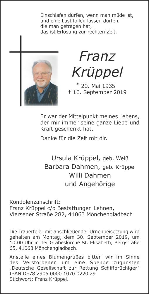 Traueranzeige für Franz Krüppel vom 25.09.2019 aus Rheinische Post