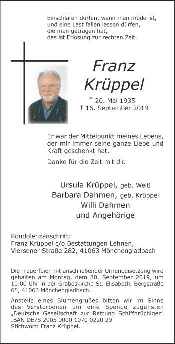 Traueranzeige von Franz Krüppel von Rheinische Post