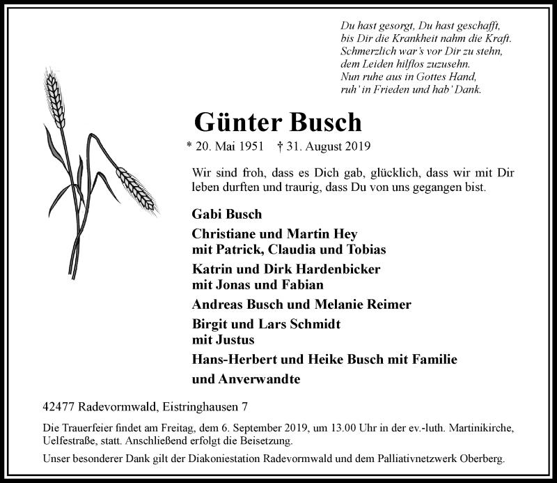 Anzeige von  Günter Busch