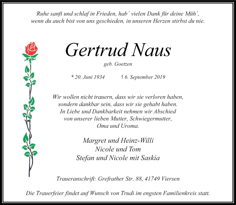 Anzeige von  Gertrud Naus
