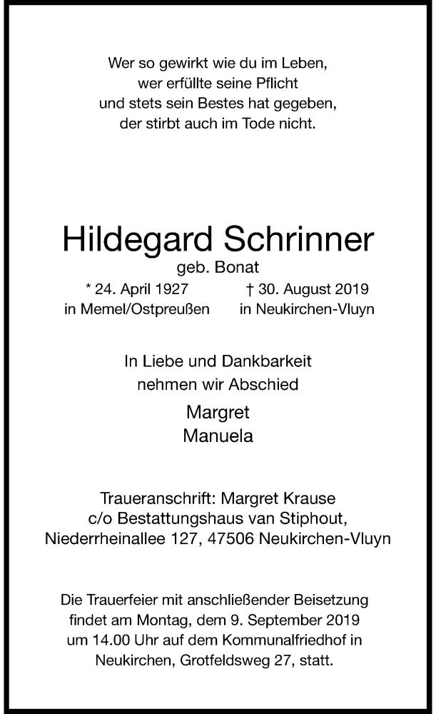 Traueranzeige für Hildegard Schrinner vom 04.09.2019 aus Rheinische Post