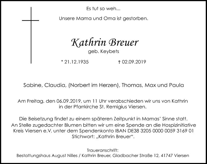 Traueranzeige für Kathrin Breuer vom 04.09.2019 aus Rheinische Post