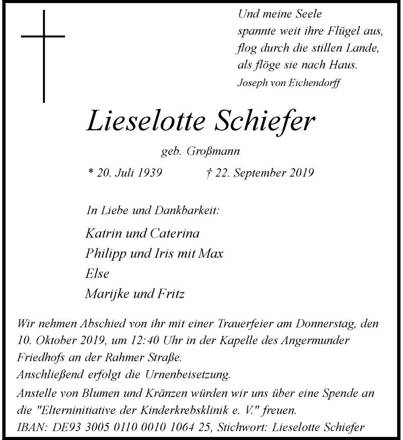 Anzeige von  Lieselotte Schiefer