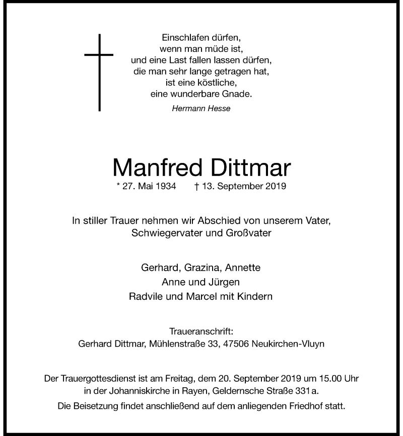 Anzeige von  Manfred Dittmar