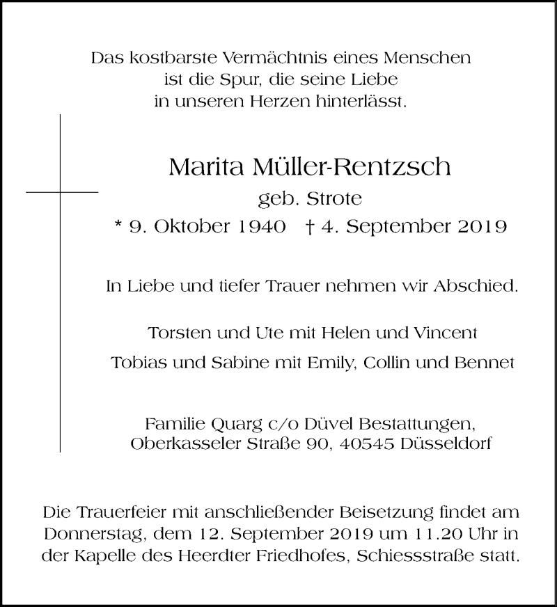 Anzeige von  Marita Müller-Rentzsch