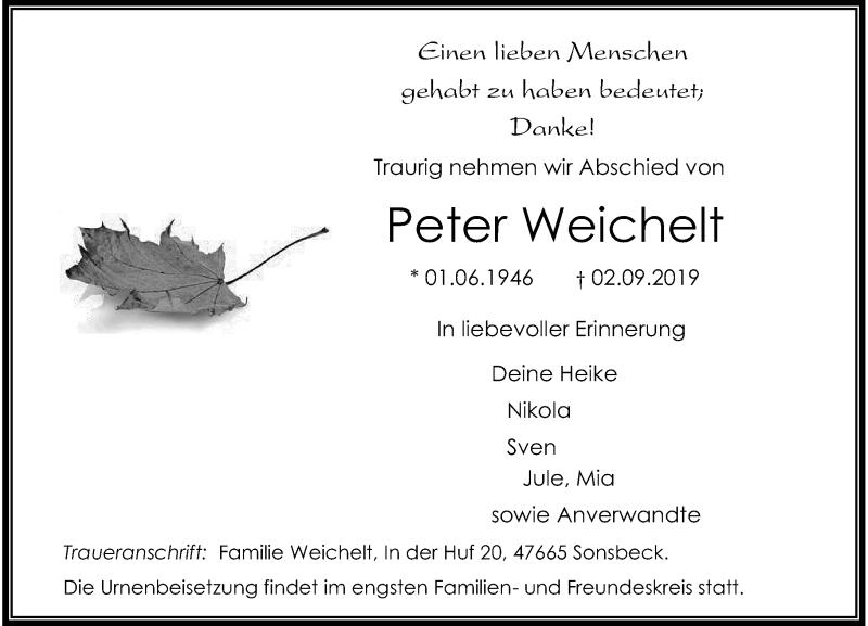Anzeige von  Peter Weichelt