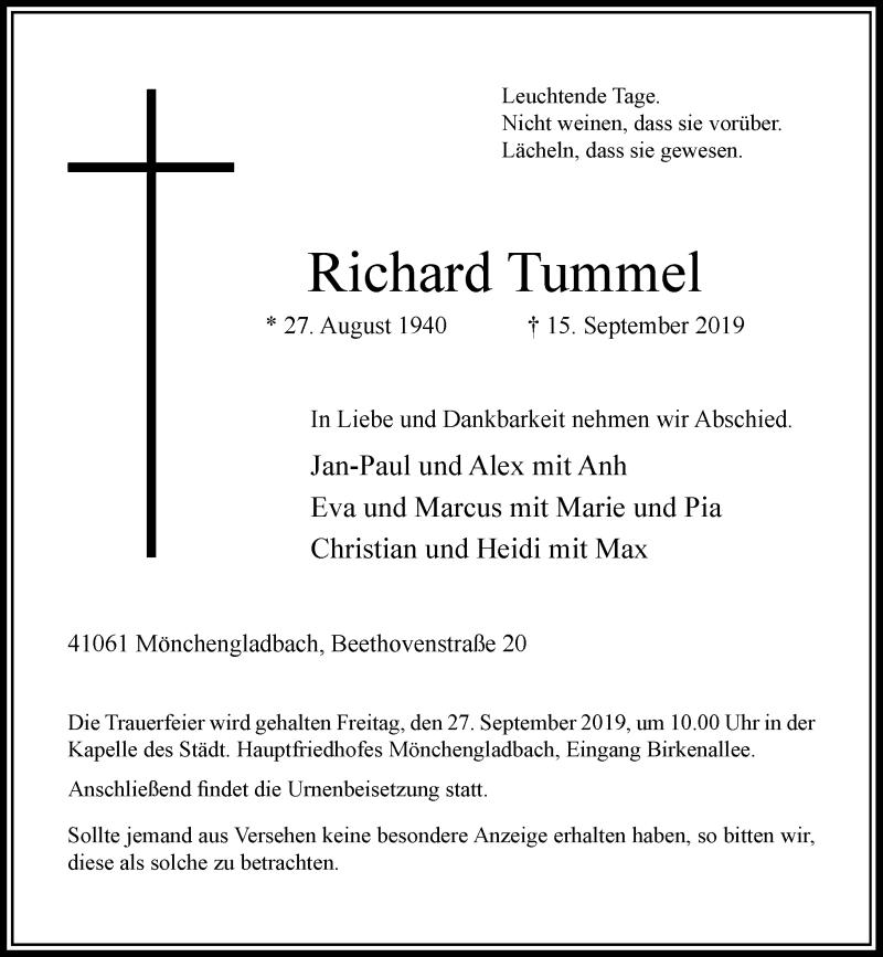 Anzeige von  Richard Tummel