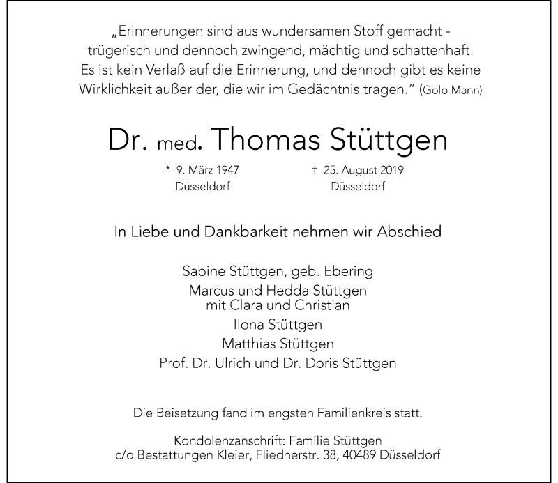 Traueranzeige für Thomas Stüttgen vom 21.09.2019 aus Rheinische Post