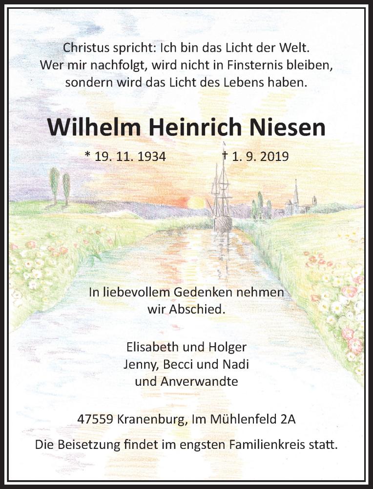Traueranzeige für Wilhelm Heinrich Niesen vom 03.09.2019 aus Rheinische Post