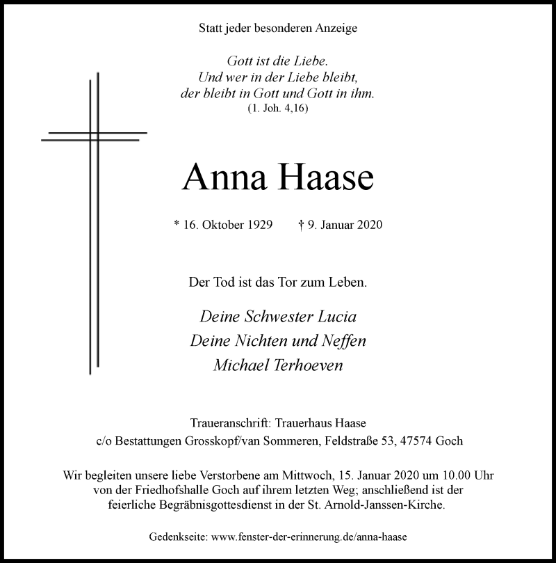 Anzeige von  Anna Haase