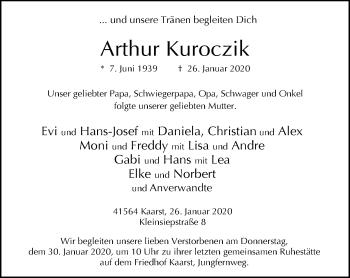 Traueranzeige von Arthur Kuroczik von Rheinische Post