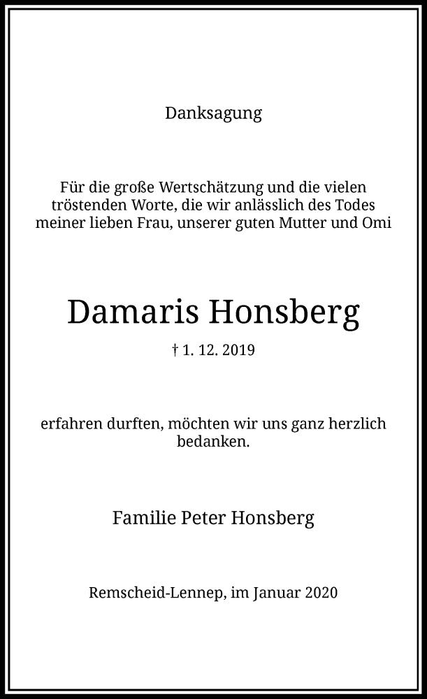 Anzeige von  Damaris Honsberg