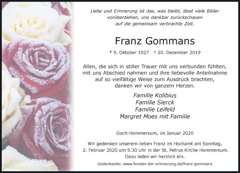 Traueranzeige für Franz Gommans vom 25.01.2020 aus Rheinische Post