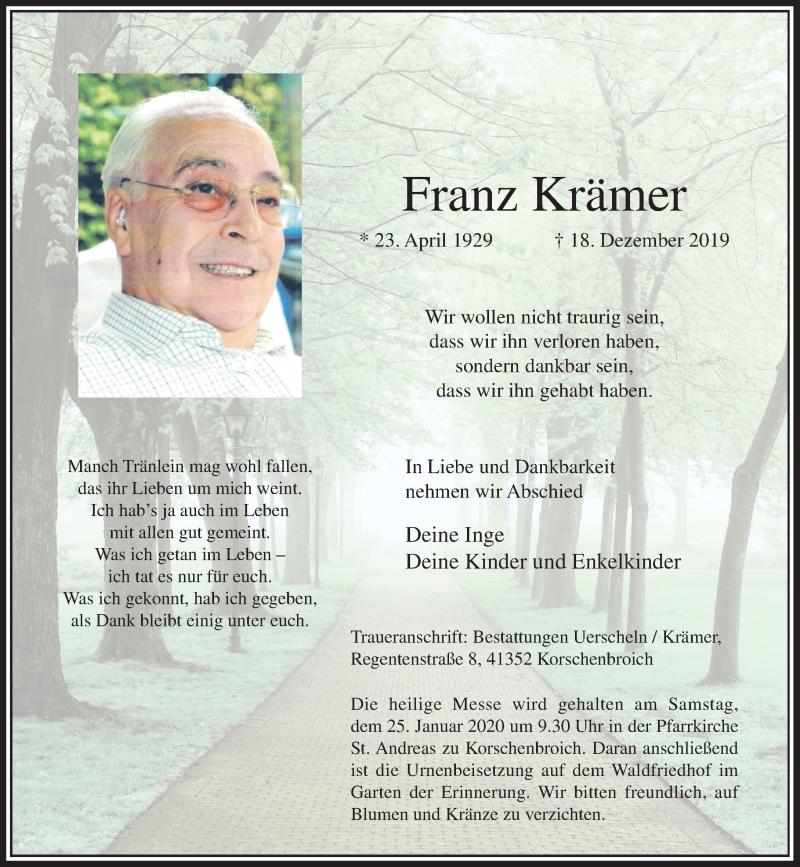 Anzeige von  Franz Krämer