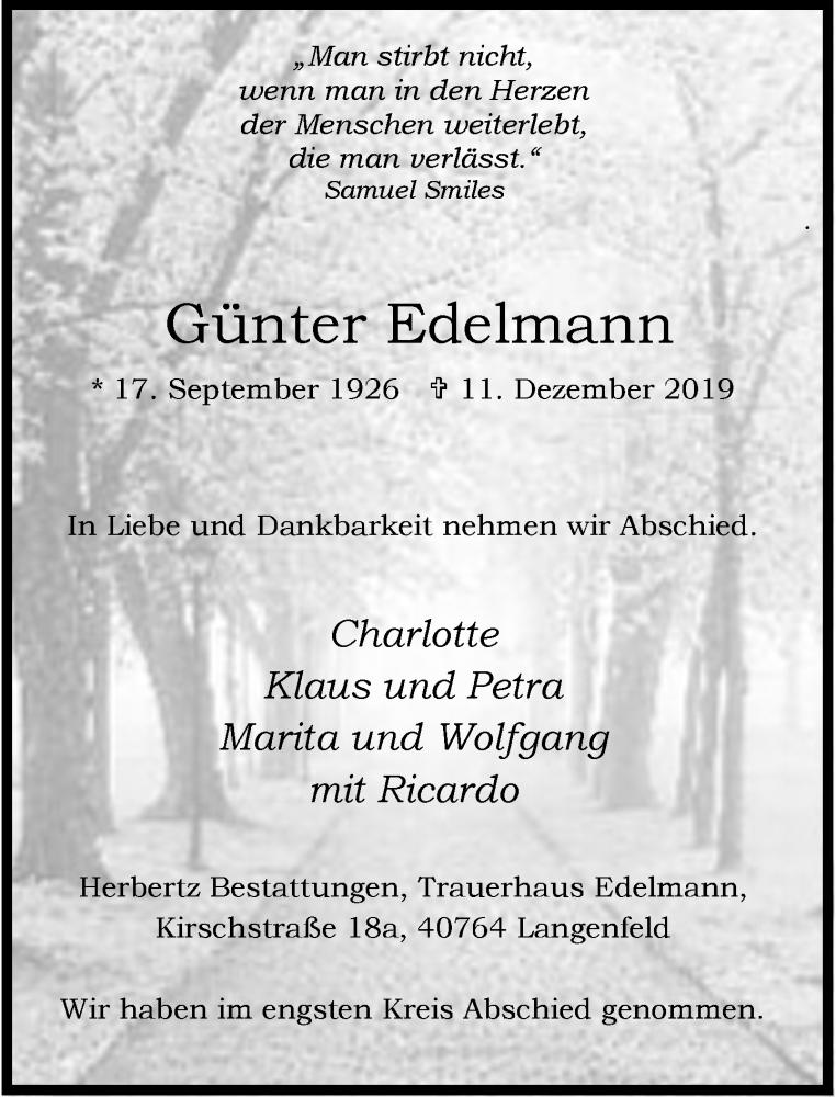 Anzeige von  Günter Edelmann