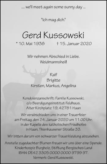 Traueranzeige von Gerd Kussowski von Rheinische Post
