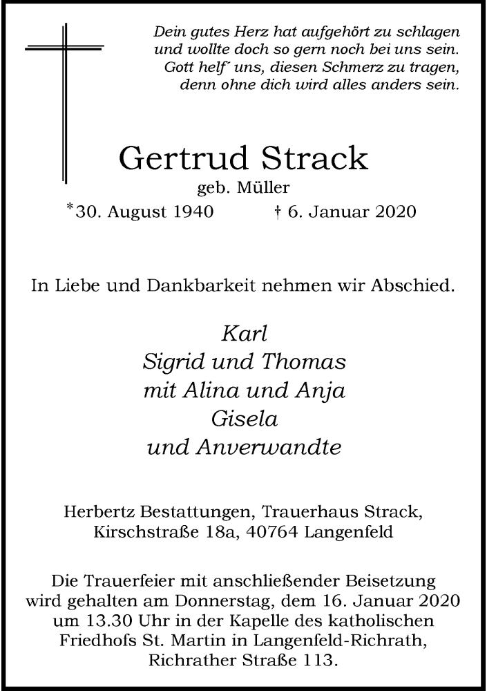 Anzeige von  Gertrud Strack
