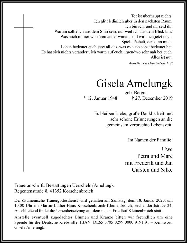 Anzeige von  Gisela Amelungk