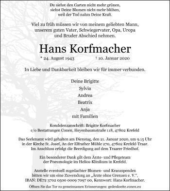 Traueranzeige von Hans Korfmacher von Rheinische Post