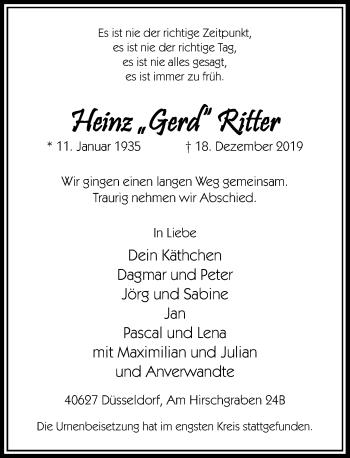 Traueranzeige von Heinz Ritter von Rheinische Post