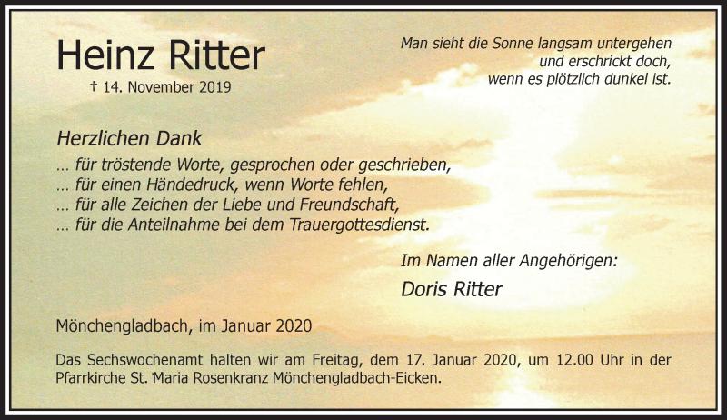 Traueranzeige für Heinz Ritter vom 11.01.2020 aus Rheinische Post