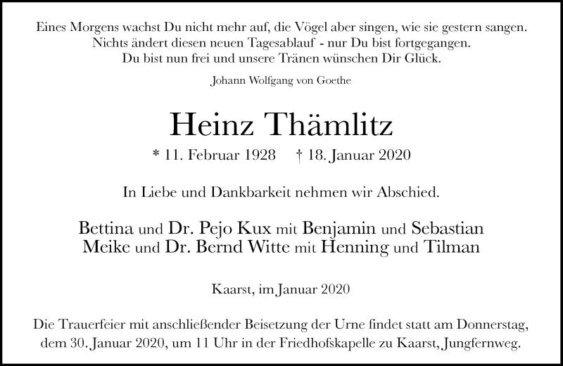 Traueranzeige für Heinz Thämlitz vom 25.01.2020 aus Rheinische Post