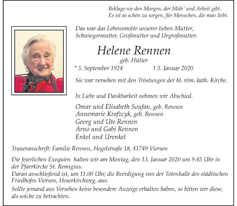Anzeige von  Helene Rennen