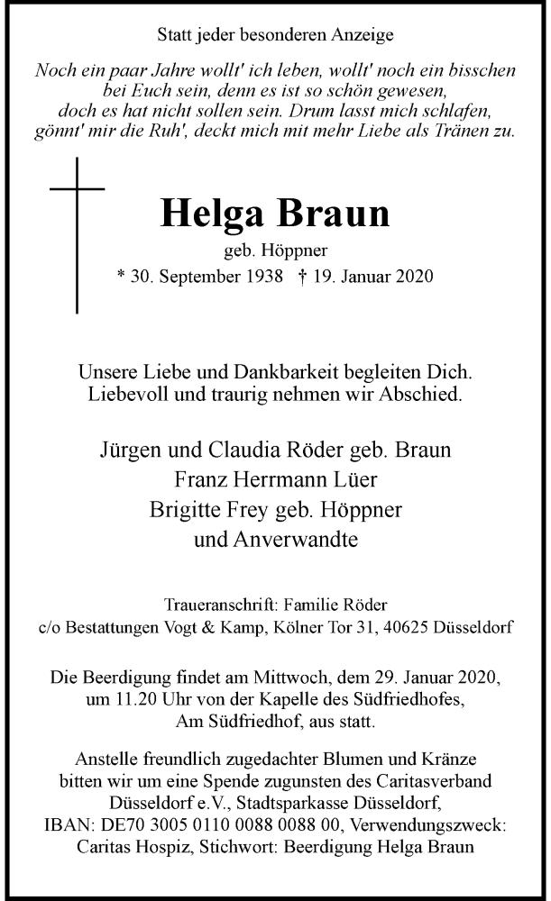 Anzeige von  Helga Braun