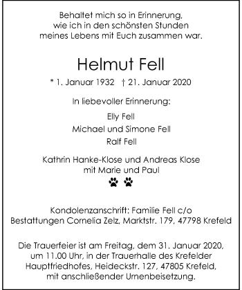 Traueranzeige von Helmut Fell von Rheinische Post