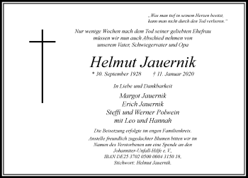 Traueranzeige von Helmut Jauernik von Rheinische Post