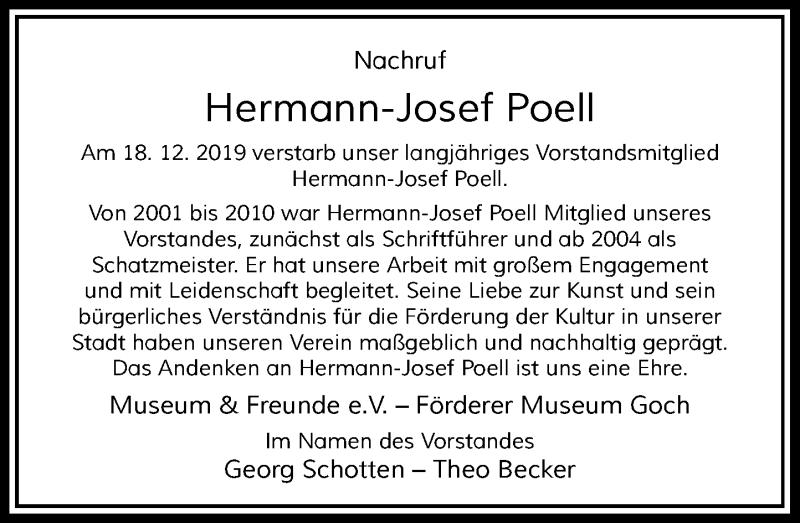 Anzeige von  Hermann-Josef Poell