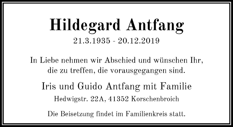 Anzeige von  Hildegard Antfang