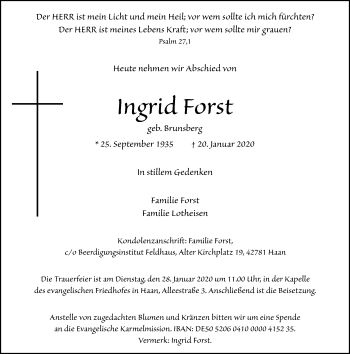 Traueranzeige von Ingrid Forst von Rheinische Post