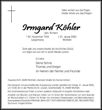 Traueranzeige von Irmgard Köhler von Rheinische Post