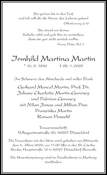 Traueranzeige von Irmhild Martina Martin von Rheinische Post