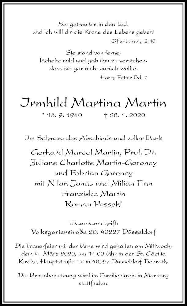Traueranzeige für Irmhild Martina Martin vom 01.02.2020 aus Rheinische Post