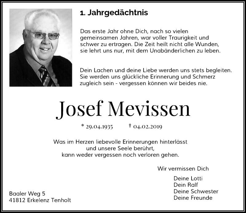 Anzeige von  Josef Mevissen