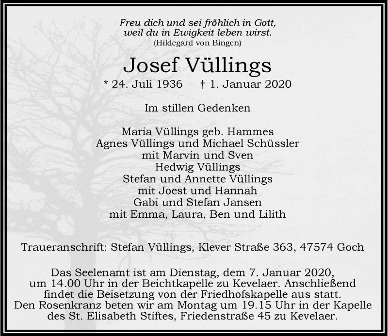 Anzeige von  Josef Vüllings