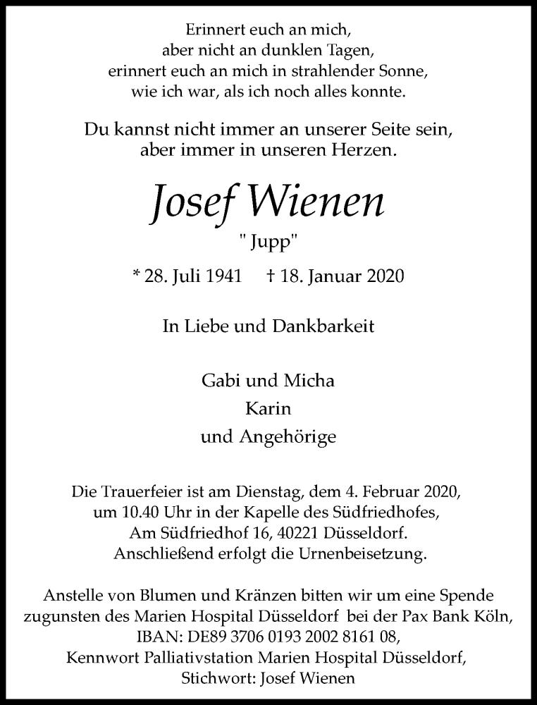 Anzeige von  Josef Wienen