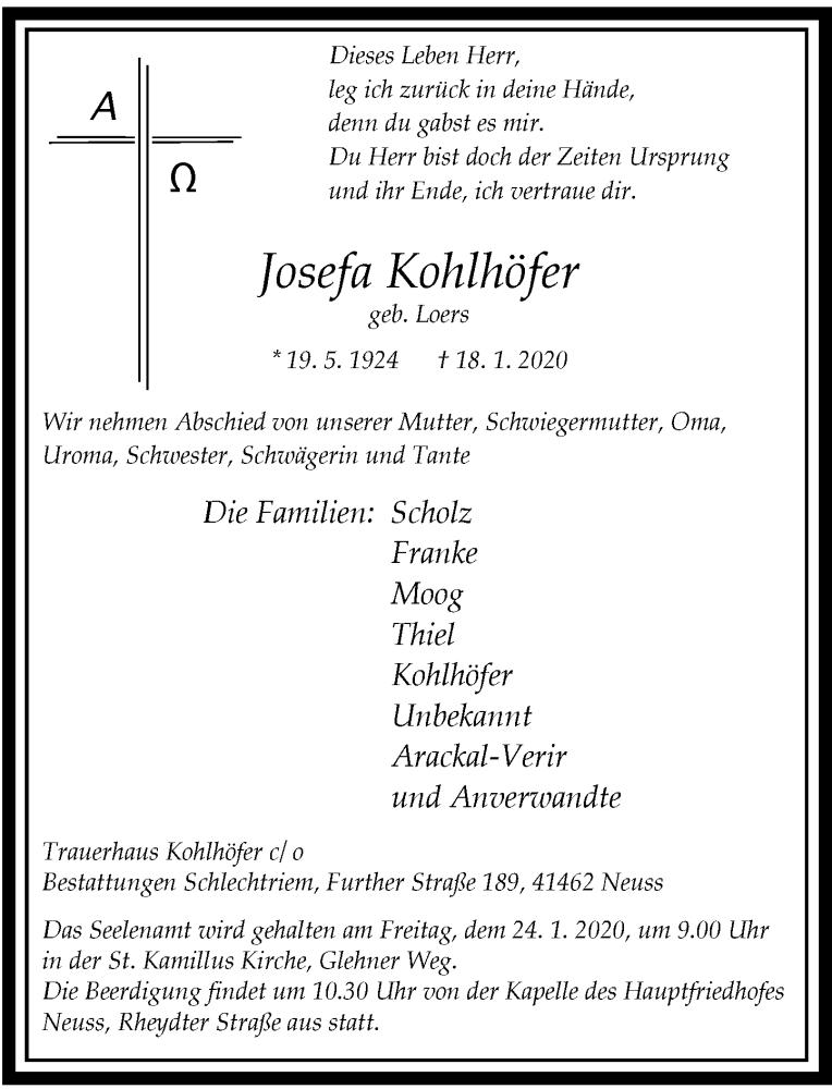 Traueranzeige für Josefa Kohlhöfer vom 22.01.2020 aus Rheinische Post
