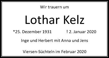 Traueranzeige von Lothar Kelz von Rheinische Post