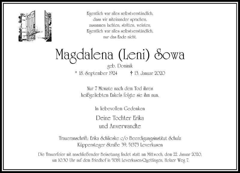 Anzeige von  Magdalena  Sowa