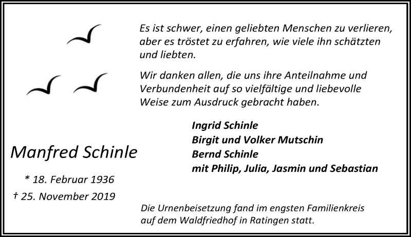 Anzeige von  Manfred Schinle