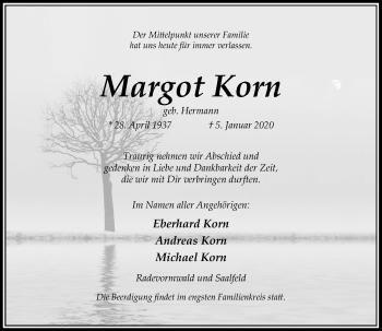 Traueranzeige von Margot Korn von Rheinische Post