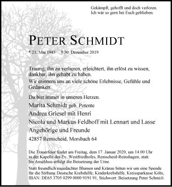 Traueranzeige von Peter Schmidt von Rheinische Post