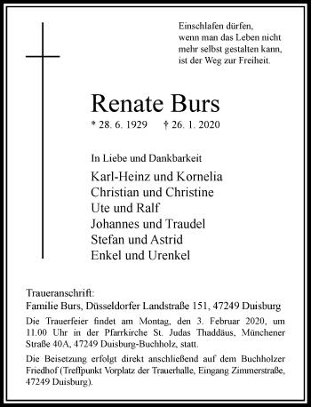 Traueranzeige von Renate Burs von Rheinische Post